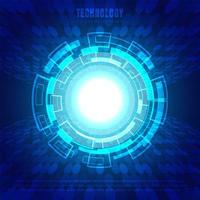 Blå bakgrund för abstrakt cirkel för digital affärsteknologi