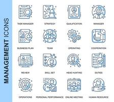 Blaue dünne Linie People Management Related Icons Set