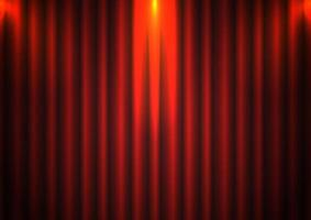 Roter Vorhanghintergrund mit Scheinwerfer im Theater