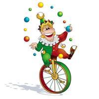 clown jongleur in einem rot-grünen anzug und eine mütze jongliert mit kugeln