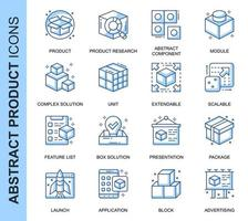 Blå tunn linje abstrakt produkt relaterade ikoner set