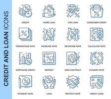 Blå tunn linje kredit och lån relaterade ikoner set vektor