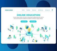 online-utbildning isometrisk målsidamall vektor