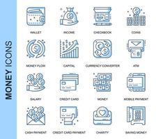 Blå tunn linje pengar relaterade ikoner set