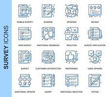 Blaue dünne Linie Umfrage verwandte Icons Set