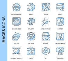 Blå tunn linje bilder relaterade ikoner set vektor