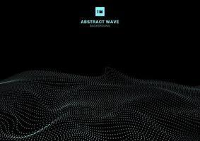 Abstrakt blå dynamisk våg av partiklar på futuristisk teknologibegrepp för svart bakgrund.