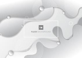 Abstrakter flüssiger weißer und grauer Hintergrund mit geometrischen Elementen der Kreise