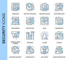 Blå tunn linje säkerhetsrelaterade ikoner set