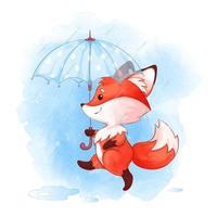 Röd räv som går med paraplyet i regnet