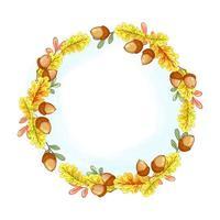 Ein Kranz aus gelben Herbst Eichenlaub und Eicheln
