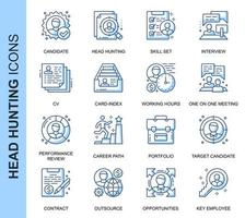 Blue Thin Line Head Hunting Related Icons Set