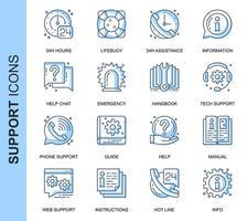 Blå tunn linje hjälp och support relaterade ikoner set