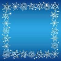 Quadratischer weißer Schneekristallrahmen auf einem blauen Hintergrund