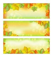 Uppsättning av höst horisontella banners med stupade kastanjeblad