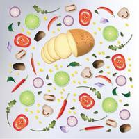 Färgglada mönster rå grönsaker bakgrund vektor