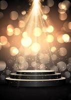 Podium under glittrande guldstrålkastare