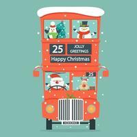 Julkort med jultomten, hjortar, snögubbe, pingvin i dubbel Decker-buss