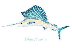 Blauer Marlin des Mosaiks lokalisiert auf einem weißen Hintergrund.