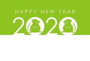 2020 - Year of the Rat - New Years green card mall. vektor