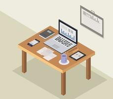 Isometrisk kontorsskrivbord med bärbar dator vektor