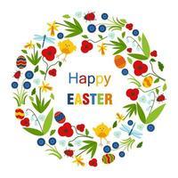 Färgrikt lyckligt påskhälsningkort med krans av blommor, ägg och text
