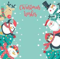 Söt julkort med jultomten, pingvin, träd, snögubbe.