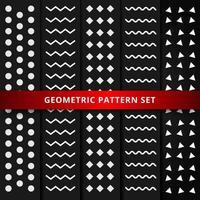 Satz des weißen geometrischen Musters auf schwarzem Hintergrund.