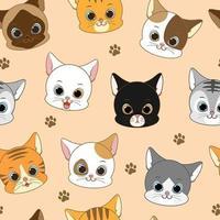 Söta le sömlösa mönster för katthuvud vektor