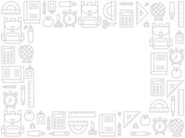 Schulbedarf Doodle Frame Zurück in die Schule vektor