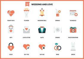 Uppsättning av bröllop och kärlek ikoner