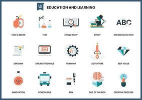 Uppsättning av utbildning och lärande ikoner vektor