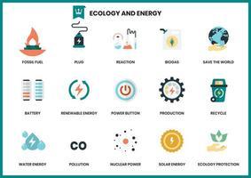 Set von Ökologie und Energie vektor