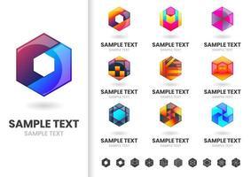 Uppsättning av moderna sexkantiga logotyper
