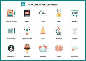 Uppsättning av utbildning och lärande ikoner för företag