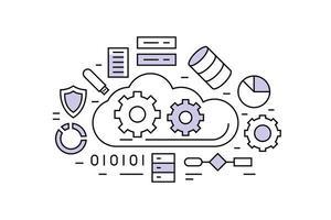 Dargestellte Datenleitungen der großen Wolke