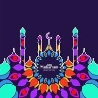 Bunter Moschee glücklicher Muharran Hintergrund vektor