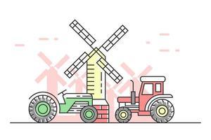 landwirtschaftliche flache Linie Gekritzel