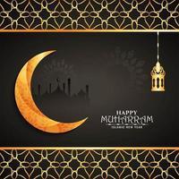 Goldener Mond glücklicher Muharran Hintergrund vektor