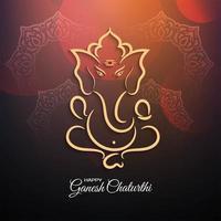 Festivalfirande kort med lord ganesha design vektor
