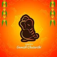 Ljus orange och brun kontur Ganesh Chaturthi hälsning vektor