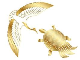 Guldkran och en sköldpadda vektor
