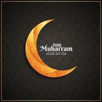 Glücklicher Muharran Hintergrund mit einfachem goldenem Mond vektor