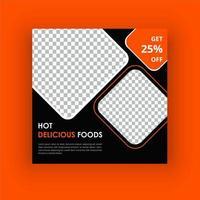 Hot läcker mat sociala medier post vektor