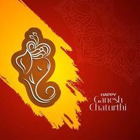 Ganesh Chaturthi roter und gelber einfacher Feierhintergrund vektor