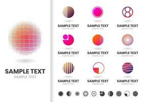 Uppsättning färgglada moderna cirkulära logotyper vektor