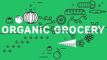 Bio-Lebensmittel-Banner mit grünem Hintergrund