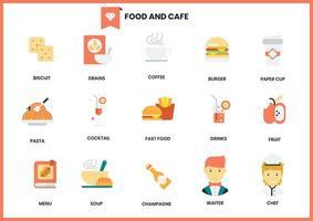 Mat- och kafésymbolsuppsättning för affär på vit