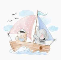 söt djur vän seglar på båten vektor