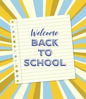 Notizpapier Willkommen zurück zu Schulplakat vektor